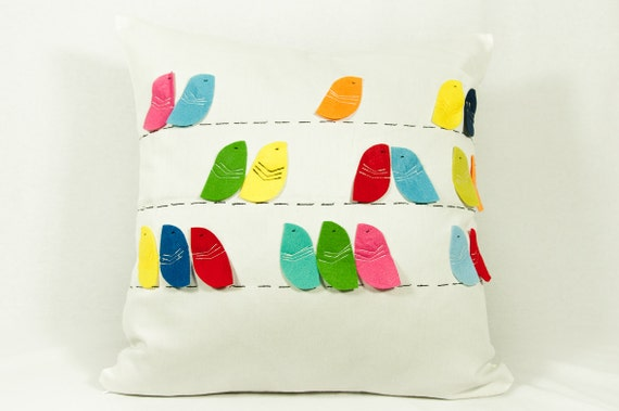 colorful bird pillow decorative pillows throw by GEEKandtheCHIC