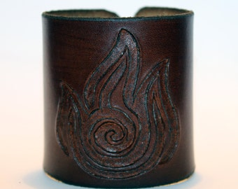 Leather Cuff With Fire Nation Symbol From Avatar The Last Airbender!Great Handmade Bracelet! Great Gift!