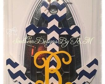 Wooden initial anchor, door hanger, nautical door decor, nursey decor