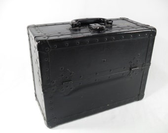 Vintage travel carry wood metal tool case machinest military repairman parts industrial steampunk