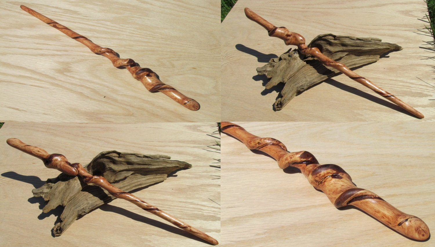 Naturally twisted wand carved red maple wood natural twist