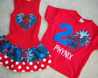 Spiderman Dress, Spiderman Shirt, Sibling Set.