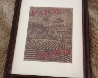 Farm Fresh Framed Burlap Pring