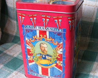 vintage old retro style tea caddy george V king tin metal storage box bin new