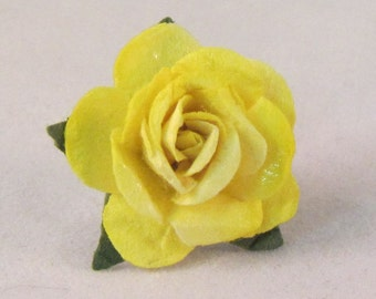 Paper Rose Lapel Pin - Yellow - X-Small - Everyday / Weddings / Proms