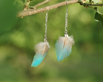 earings OIS'ELLE blue_parrot_natural feathers_adjustable_boho_OOAK
