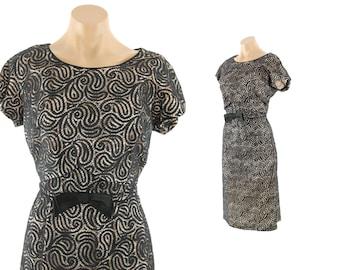 Vintage 50s Wiggle Dress Lane Bryant Black Lace LBD Short Sleeves Cocktail Party Evening Fasion 1950s Large L