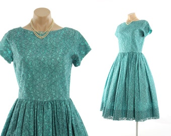 Vintage 50s Lace Party Dress Full Gathered Skirt Turquoise Dress 1950s Pinup Rockabilly Dress Medium M