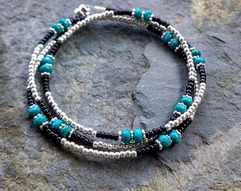 Turquoise and silver multi wrap bracelet, boho chic beaded wrap bracelet, turquoise bracelet, turquoise beaded necklace, boho chic necklace