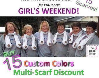 15 BOOB SCARVES  25% off Multi Boob Scarf order. Team accessories, Breast Cancer awareness, Dirty Santa Gifts, Girls weekend, Bachelor