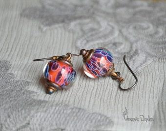 Lampwork Boro Beads Earrings, Blue and Red Borosilicate Glass Earrings with Copper Beads, Niobium Earwire Earrings