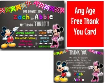 Sibling Invitation, Twin Invitation, Mickey Minnie Mouse Twins Birthday Invite, Mickey Minnie Invitations, Invitations For Twins or Siblings
