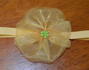 Cream veil headband with red beads for babies or young girls, Cream flower hairband, headpiece, headband, Christmas headband