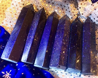 Blue Goldstone Point, Blue Goldstone Generator, Great for Crystal Grid, Sparkly, Chakra, Reiki, Pagan Altar, Samhain, Halloween!
