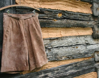 1970's Tan Suede Shorts.  Hipster Knickers. Boho Style. High Waisted Bermuda Shorts. Women's S Small 7 / 8.