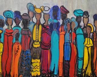 Sotho Wedding - Original Acrylic On Canvas, Wall Decor, African Art, Interior Art
