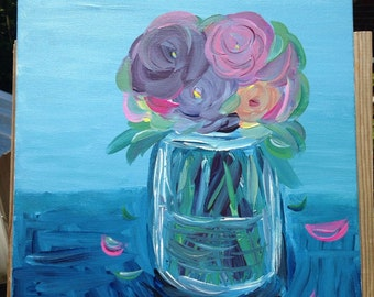 "16"" x 12"" Abstract Flowers in Jar Still Life Painting - Acrylic on Canvas"
