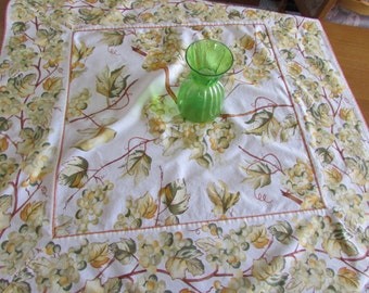 Vintage Square Tablecloth  - Yellow and Green - Grapes and Vines - Garden Party - April Cornell