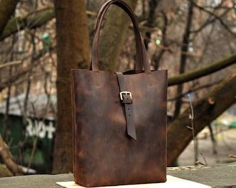Shoulder bag, leather handbag, leather tote bag, shopper bag, womens bag, B014 Brown