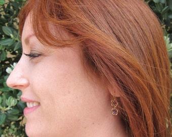 Purple Amethyst 14K Gold Filled Flower Handmade Earrings