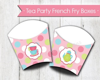 Tea Party French Fry Box - Instant Download