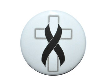 Melanoma Cancer Awareness Black ribbon Cancer support skin cancer awareness 2 1/4 inch button
