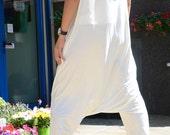 White jumpsuit, woman loose suit, plus size low crotch jumpsuit, maxi summer clothing, plus size drop crotch jumpsuit, fashion clothing
