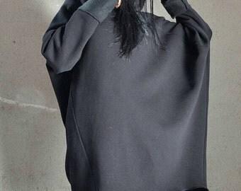 Plus size tunic, black loose top, plus size top, loose tunic, asymmetric loose top, black loose blouse, extravagant blouse, plus size hoodie