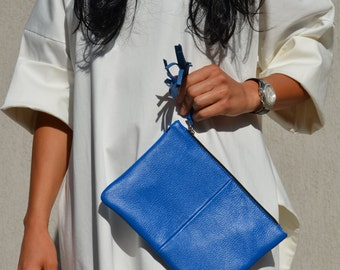 Blue leather boho clutch, ladies evening bag, structured purse, handbag for women with tassel, small party bag, Italian leather handbag