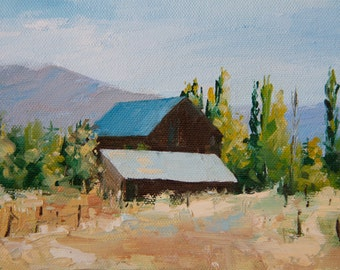 Blue Tin Roof, 5x7 inches, Oil on gallery wrapped canvas