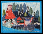 "Textile wall hanging.Fiber Art  Walking Elke's Chicken             8""x10"""