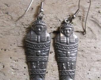 Egyptian Mummy Silver Tone Earrings Pierced Earrings