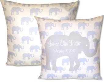 Personalized Baby Pillow Baby Blue Elephant Personalize with Baby Name and Birth Date Baby Boy Nursery Pillow