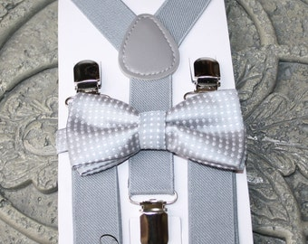 Kids Boys Baby Set gray Suspenders,gray bow tie 6months-5T,baby prop