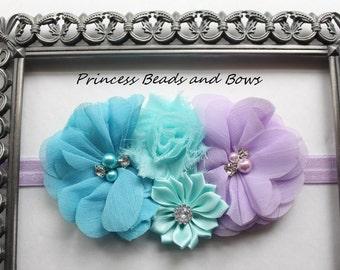 Shades of Purple, Aqua and Turquoise Floral Headband, Shabby Chic Flower Headband, Girls Headband, Baby Newborn Headband  READY TO SHIP
