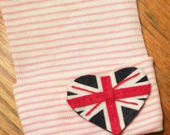 Heart UK Flag Newborn Hospital Hat! 1st Keepsake! 1st Hat! Newborn Hospital Hat! Super Cute! Great Photo Prop Too! Cute Gift Too!