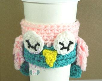 Pink owl cozy, crochet owl cozy, owl coffee cozy, owl tea cozy, crochet coffee cozy, crochet tea cozy, crochet owl, pink and mint cozy