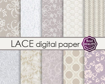 "Lace digital paper ""LACE""  lace patterns for scrapbooking * Commercial use * Printable, Instant Download"