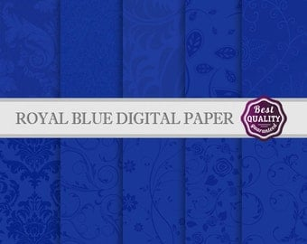 Royal Blue Digital Scrapbook Paper Set * 10 Images for Scrapbooking & Crafts, Wedding * Printable, Instant Download * Commercial Use