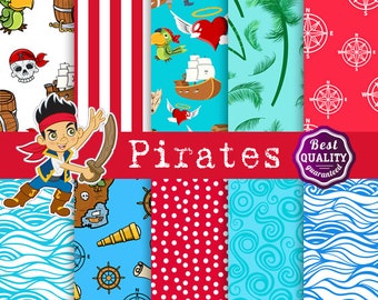 Pirates digital papers *  Palette inspired by Jake and the Neverland Pirates * Instant Download