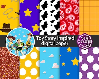 Toy story digital paper * Palette inspired by Disney's ToyStory * Stars,Polkadots, Bandana pattern and more * Instant Download