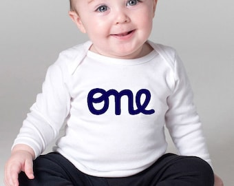 "Baby Boy 1st Birthday Outfit  Long Sleeve first birthday ""one"" Onesie cute onesies for baby boys personalized onesie,"