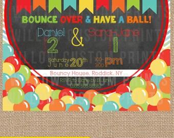 BOUNCY BALLS Birthday Invitation - colorful - bouncy house - chalkboard - digital printable