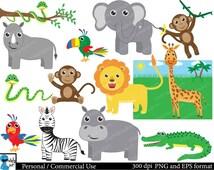 Safari animals - Set Clipart - Digital Clip Art Graphics Personal Commercial Use - 21 PNG images (00024)