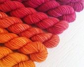 SHERBET 240 yard mini-skein set, High Twist Sock, superwash, merino, fingering weight, sock yarn, gradient, ombre