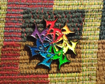 ZD Logo Mandala ROYGBIV Rainbow EDM Festival Lapel Hat Pin
