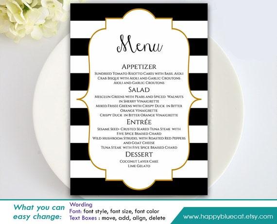 DiY Printable Wedding Menu Template - Instant Download - EDITABLE TEXT ...