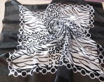 Vintage Scarf Large Square Satin Chiffon Zebra Print Black White Animal Print Shawl Woman's Wrap Lady's Retro Style Fashion Accessories
