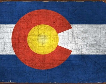 Colorado State Flag Metal Sign, Americana, Rustic Décor, HB7093