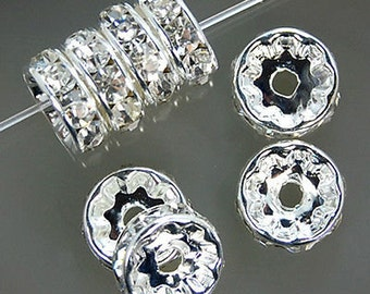 30pcs, 8mm Silver Plated Crystal Rhinestone Spacer Wheel Rondelles Bead charms -beads spacers charm,  stone connectors spacers